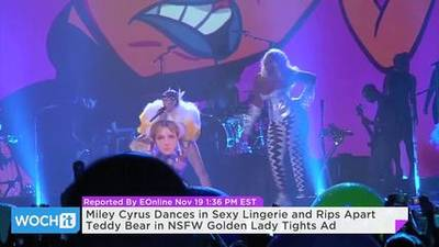 News video: Miley Cyrus Dances in Sexy Lingerie and Rips Apart Teddy Bear in NSFW Golden Lady Tights Ad